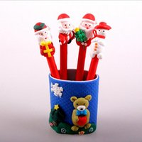 Wholesale Ceramic Gifts Crafts - Christmas kid cartoon pen Snowman Santa Claus soft ceramics ballpoint pen red Christmas Craft pen kids Christmas gift