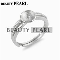 Wholesale Sterling Silver Blank Rings - 5 Pieces Ring Semi Mount DIY Jewelry Findings Zircon 925 Sterling Silver Pearl Setting Ring Blanks