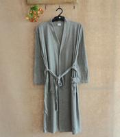 Wholesale Thin Bathrobes - Bath robe men cotton summer waffle robe Soft and comfortable long bath robe thin peignoir men pajamas home Bathrobes free shipping