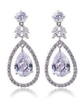 Wholesale Diamante Numbers - Dangling earring Fashion AAA CZ ZIRON big dangling earring Platinum Plated brinco vintage Aretes de diamante Party Wedding Jewelry gift 0200