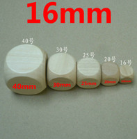 Wholesale Wholesale Wooden Tables - 20pcs 16MM 20MM 40MM Table DICE DIY blank wooden dice special game party machine Children dices KTV IVU