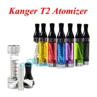 Wholesale E Cigarette T2 Clearomizer - Kanger T2 Atomizer ORIGINAL E Cigarette Vaporizer Vapor Tank Kanger T2 2.4ml Clearomizer Ego Twist E Cig Replaceable Atomizer Clear Black