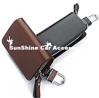 Wholesale Key Chain Cases - SunShine Leather Car Key Chain Smooth Genuine Leather Car Remote Key Holder Case Cover Wallet for Peugeot 208 308 408 5008 3008 206 (Brown)
