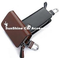 Wholesale Key Remote Wallet - SunShine Leather Car Key Chain Smooth Genuine Leather Car Remote Key Holder Case Cover Wallet for Peugeot 208 308 408 5008 3008 206 (Brown)