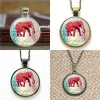 elefantenarmband unisex großhandel-10pcs Elefant rote Kunst Anhänger Halskette Schlüsselanhänger Lesezeichen Manschettenknopf Ohrring Armband