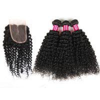 Wholesale Braziian Hair - Top Hair Lace Closure With 3Bundles Braziian Kinky Curly Hair Extensions Virgin Malaysian Hair Top Closures(4x4) ABalance Human Weft