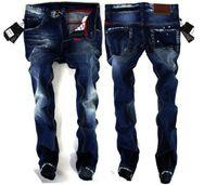 Wholesale Classic Vintage Paintings - Wholesale-Vintage Ripped Jeans For Men Blue Printed cowboy Italian Fashion Design pants,World famous brand men's denim trousers