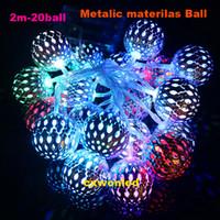 Wholesale balls pendant lamp resale online - Battery operated M LEDs v Lighting LED Ball String Lamp Transparent Wire Christmas Light Fairy Wedding Garden Pendant