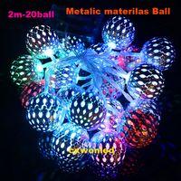 lampe à bille achat en gros de-Fonctionne sur piles 2M 20 LED 4.5v éclairage LED Ball String Lampe Fil transparent Noël lumière Fairy Wedding Garden Pendentif