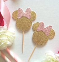 glitter rosa Mouse Cupcake Toppers Food Picks festa di compleanno decorazioni torta baby shower