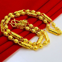 Wholesale Thailand Jewelry Necklaces - For a long time does not fade double tap Gold Necklace Gold Mens 999 Thailand gold chain simulation hollow Wedding Jewelry