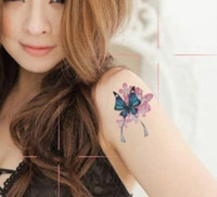 Wholesale Sexy Temporary Tattoo Sheet - Waterproof Sexy Women Butterfly Totem Tattoo Stickers Arm Temporary Tattoos 14 Models 10 Sheet lot Free Shipping