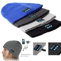Wholesale Headgear For Winter - Bluetooth Hats Wireless 6 colors Knitted Cap Smart Hat Headphone Headset Speaker Mic Headgear for Christmas gifts Free DHL Fedex