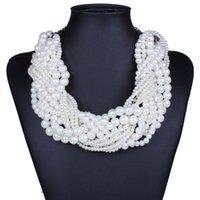 Wholesale Artificial Pearl Jewelry - New Designer Classcial Multilayers Statement Fashion White Charms Artificial Chain Long Imitation Pearls Necklace Women Jewelry HD-241