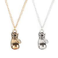 Wholesale Mini Boxing Gloves Wholesale - Pendant necklace 2016 Gold Silver Plated Fashion Mini Boxing Glove Necklace Boxing Jewelry Cool Pendant For Men Boys Chain Necklaces