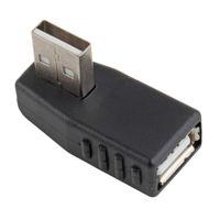 adaptador usb angular venda por atacado-4 TIPO USB 2.0 Plug Direita Ângulo Esquerdo Tipo A Macho para Fêmea Adaptador Connecter Extensão Direito Angular 90 Graus USB Um Adaptador para PC Portátil