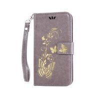 Wholesale Gold Plated S4 - Gold plated For Samsung S4 cardholders Emboss Flowers and butterflies Flip Wallet Case Cover with Kickstand and Wrist Strap Hang buckle