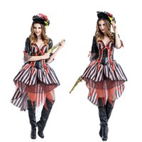 Wholesale Pirate Suit Women - Halloween costume pirates of the Caribbean with role-playing dress suit club DS costumes in Europe and the united game uniforms