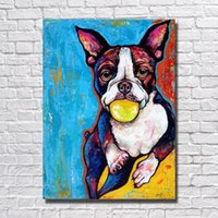 Wholesale Modern Oil Paintings Famous - Famous Animal Artwork Hand made Dog Oil Painting Bedroom Wall Decor Cheap Modern Animal Oil Painting No Framed