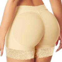 ingrosso nudi nudo-S-3XL Plus size mutandine da donna colore nero / nudo più pad pantaloni falso asino intimo traspirante lucido per le donne