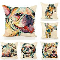 Wholesale Paint Dogs - Colourfu Bull Terrier Painted Pillow Case Bull dog dachshund 3D Square Cotton Linen Cheap Cushion Cover For Home Sofa Pillow Case