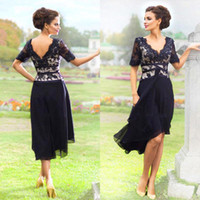 Wholesale Tea Length Chiffon Skirts - 2016 Tea-Length Mother of the Bride Dresses Dark Navy Vintage Lace with Chiffon Skirt Modest Short Sleeve Formal Mother of Groom Gowns