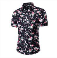 Wholesale hawaiian yellow - Wholesale-2016 Fashion Mens Short Sleeve Hawaiian Shirt Summer Casual Floral Shirts For Men Asian Size M-4XL 10 Color