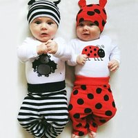 Wholesale Toddler Monkey Clothes - 2016 Cute Baby Clothes Sets Newborns Monkey Insect Printed White Rompers Toddler Boys Girls Striped Polka Dot Pants Hat Suit