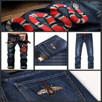 Wholesale New Star Jeans - 2017 brand new men jeans Distressed Ripped Jeans High quality Fashion Designer Straight Motorcycle Biker Runway Rock Star Jeans Cool 29-42