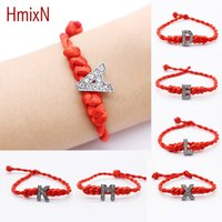Wholesale lucky rhinestone bracelet resale online - New Fashion Crystal Letters Charm Bracelet With Red Rope Chain Lucky Bracelet Cord String Line Handmade Jewelry Christmas Gift