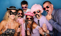 31Pcs dans un ensemble Party photographie de mariage Photo Booth Props Trendy Moustache Eye Glasses Lips on a Stick Mask Livraison gratuite
