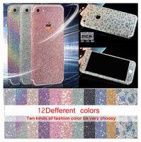Wholesale Diamond 4s - For Iphone 7 6 6S 6+ Plus 4 4S 5 5S 5SE 5C Full Body Bling Diamond Glitter Rainbow Leopard Front Back Sides Skin Sticker cover 1pcs