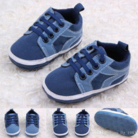 Wholesale hot walkers - New Arrival Hot Wholesale Micro Suede Lace-UP Baby Boy shoes infant first walker shoes Navy Blue Colors