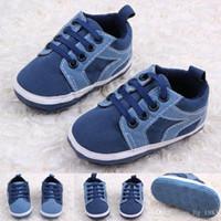 ingrosso bambino infantile merletto scarpa-Nuovo arrivo Hot Wholesale Micro-pelle scamosciata Lace-UP Baby Boy scarpe infantili primi camminatori scarpe blu scuro colori