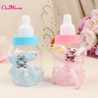 50pcs / lot del bambino favori Biberon per matrimoni e contenitore di regali Baby Shower Battesimo decorazioni Baby Bottle accessori per Candy Box di partito