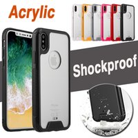 Transparent Clear Shockproof Acrylic Hybrid Armor Soft TPU Housse de protection pour iPhone X 8 7 Plus 6 6S Samsung Note 8 S8 S7 Edge