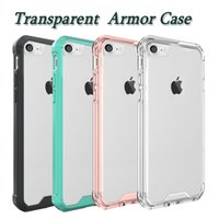 Wholesale Acrylic Cases - Armor Case For Iphone X Transparent Hybrid Cases Ultra Thin TPU PC Acrylic Back Cover Case For IPhone 8 Samsung S8 Case Opp Bag
