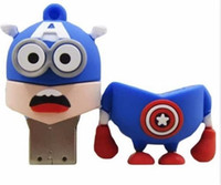 Wholesale Superman Cartoon Usb - 64GB 128GB 256GB Cartoon SuperMan Memory Stick Captain America Batman Spiderman Green lantern SuperHero USB 2.0 Flash Drive Memory usb drive