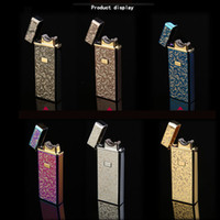 Wholesale Plane Usb - New Upscale USB Lighter Rechargeable Flameless Electric Arc Windproof Cigar Cigarette Novelty Lighter Portable can be Taken Into Plane