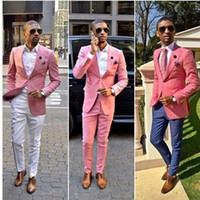 Wholesale Celebrity Men Gray Suits - Custom Made Fashion Wedding Tuxedos Pink One Button Groom Suits Mens Groomsmen Slim Fit Best Man Prom Celebrity Wedding Suit (Jacket +Pant)