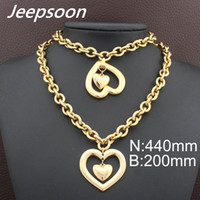 Wholesale Gold Crystal Bracelet Heart Rhinestone - HOT Stainless Steel fashion Heart Jewelry gold color Necklace Bracelet stud earrings sets for women SBJFLVDC