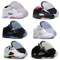Wholesale gold bull - High Quality 5 Bull Black Metallic White Grape Men Basketball Shoes 5s Bel Black Grape Oreo CNY Sneakers With Shoes Box