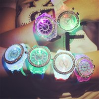 Wholesale Jelly Rhinestones Wholesale - Noctilucent Student Sport Watch LED Rhinestone Seven Color Lovers Luminous Wristwatch Silicone Jelly for Children Fashion Boys New Arrival