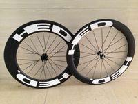 Wholesale Carbon Race Wheel Sets - 700C aero spoke bike wheels carbon racing wheels 60mm white hubs white spokes UD Carbon Ceramic hubs wheels