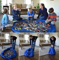 çocuklar piknik pedi toptan satış-Çapı 150 cm Çocuklar Bebek Oyun Mat Saklama Torbaları Oyuncaklar Organizatör Battaniye Kilim Kutuları Koleksiyonu Mat Çocuk Komik Açık Piknik KKA2296
