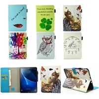 Wholesale Cartoon Cases For Galaxy Tablet - Fashion Case For Samsung Galaxy Tab A a6 10.1 2016 T580 T585 SM-T585 Case Cover Tablet Cartoon Print TPU+PU Leather Shell Funda