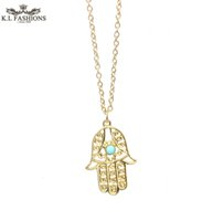Wholesale 18k Gold Hamsa Ship - 2016 New Fatima Hamsa Hand Pendant Necklace Faith Jewellery necklaces pendants turkish jewelry free shipping