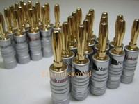 conectores banana para altavoces al por mayor-Alta calidad Nakamichi 24 K oro altavoz Banana Plugs Connector 500 unids / lote envío gratis