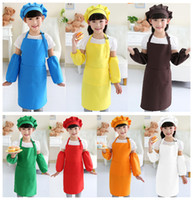 Wholesale Cooking Aprons Wholesale - Kids Aprons Pocket Craft Cooking Baking Art Painting Kids Kitchen Dining Bib Children Aprons Kids Aprons 10 colors Free Shipping A-0380