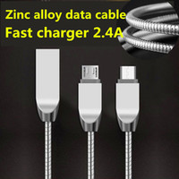 Wholesale Spring Line Cable - Fast Charging Cable 1M 3FT Metal Spring Steel Micro USB Sync Data Wire Lighting Scaling Aluminum Alloy Line Cord For Samsung S8 HTC